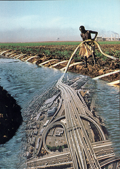 Man holding hose that appears to merge with a network of highway roads.