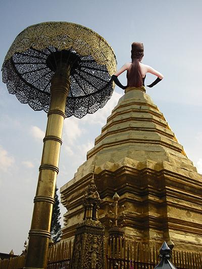 Stupa made to look like a woman's dress