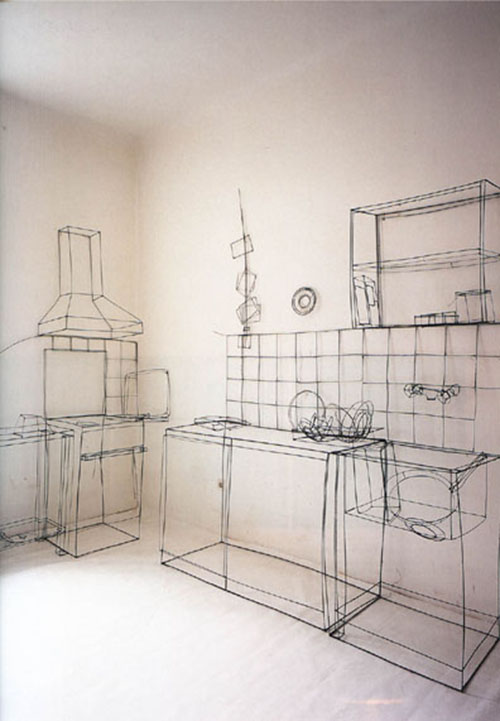 life size three-dimensional drawing of a kitchen made from steel wire