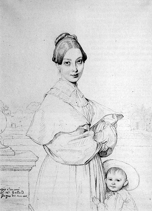Pencil on paper, a drawing over a woman and child