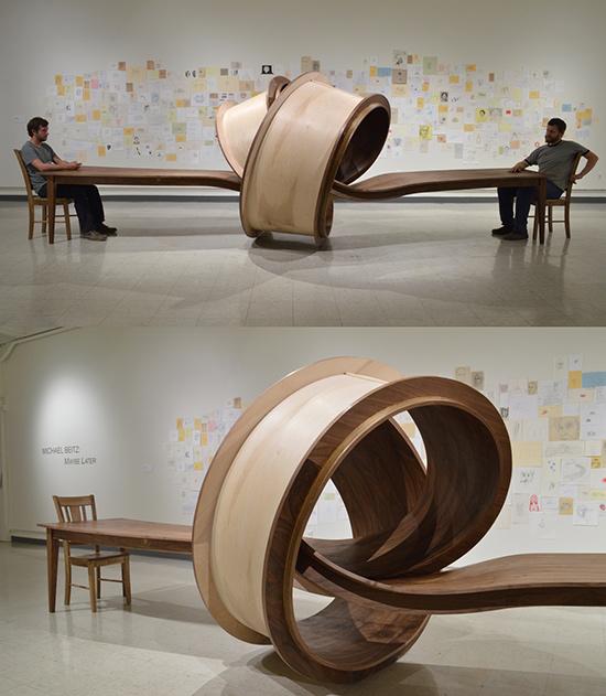 long wood table sculptre