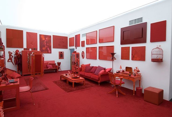 installation of red objects
