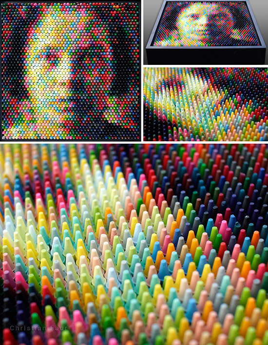 Pointillist image made with colored crayons by Christian Faur