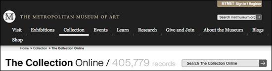 Webpage for Metropolitan Museum of Art