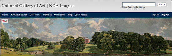 Webpage for the National Gallery of Art