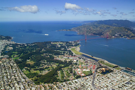 Aerial view of Presidio in San Francisco