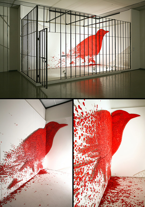 installation with a bird made from buttons by Ran Hwang