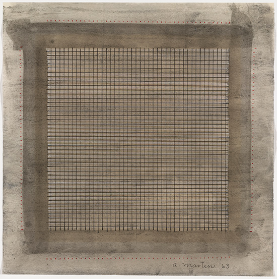 graphite and watercolor painting by Agnes Martin