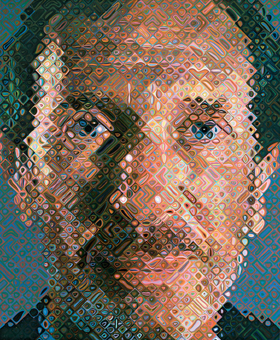 Large scale portrait in oil by Chuck Close
