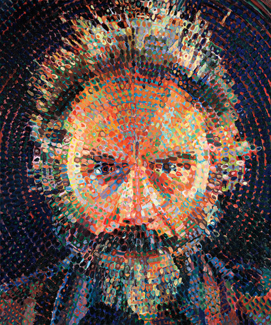Large oil painting of the artist Lucas Samaras by Chuck Close