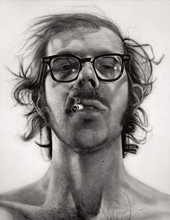 Large black and white acrylic self-portrait by Chuck Close.