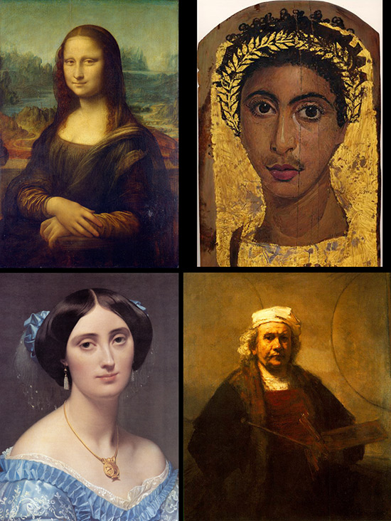 four historic portrait paintings