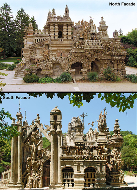 The north and south facades of the Postman Cheval's Ideal Palace.