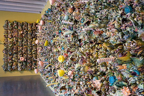 textured ceramic wall installation by Susan Beiner