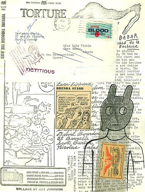 Collage correspondence art by Ray Johnson