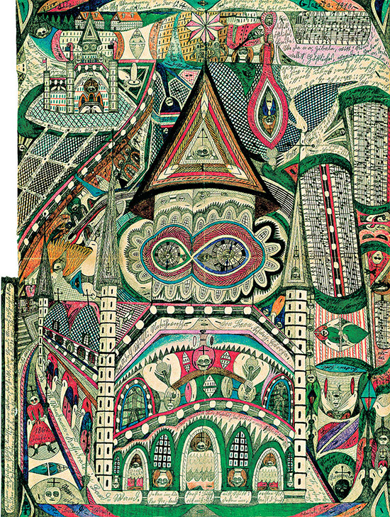 Illustrated page by Adolf Wolfli