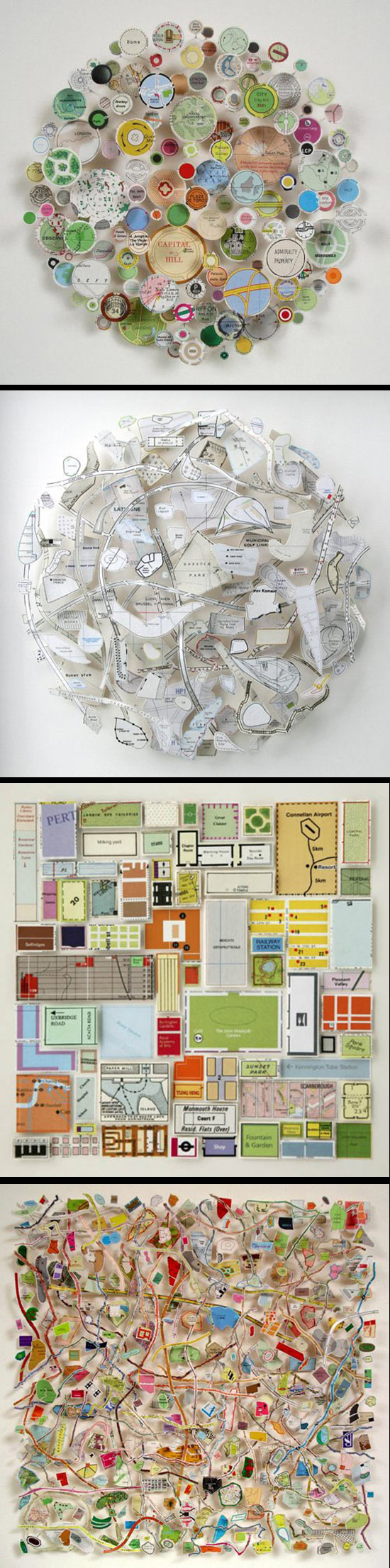 Art compositions made from cut out maps and text