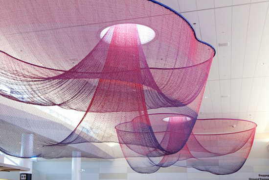Sculpture by Janet Echelman installed at San Francisco International Airport