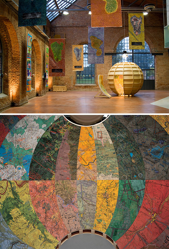 Walk-in globe art installation by Joyce Kozloff