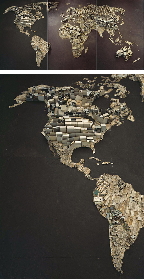 World map made from trash by artist Vik Muniz