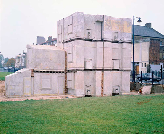 Sculpture by Rachel Whiteread of the negative space around a house