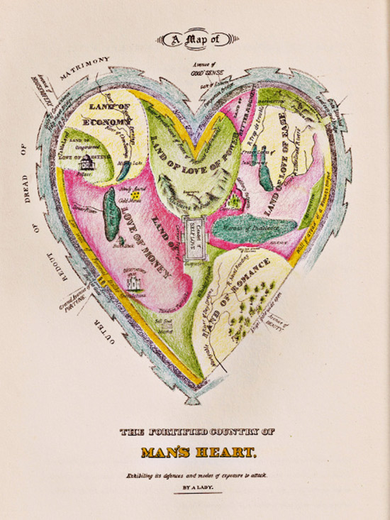 19th century map of a man's heart