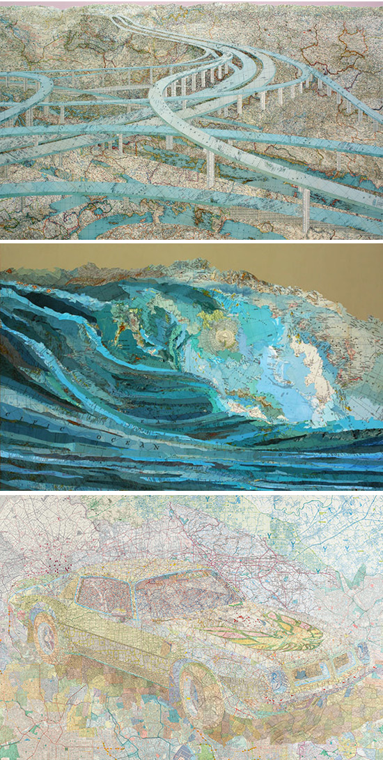 Paintings composed of map pieces by Matthew Cusick