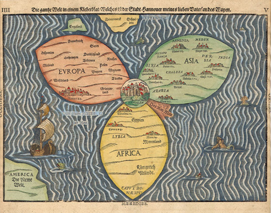antique map with Jerusalem at the center of world