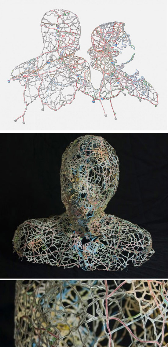 Figures made from cut apart maps by artist Nikki Rosato