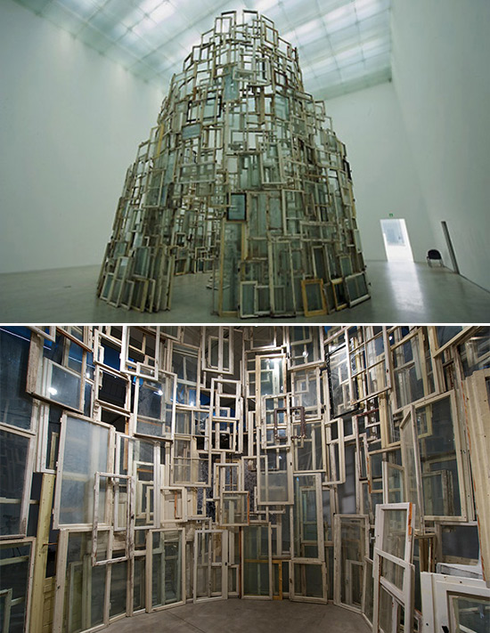 "Art installation, ""A Room of Memory,"" by artist Chiharu Shiota"