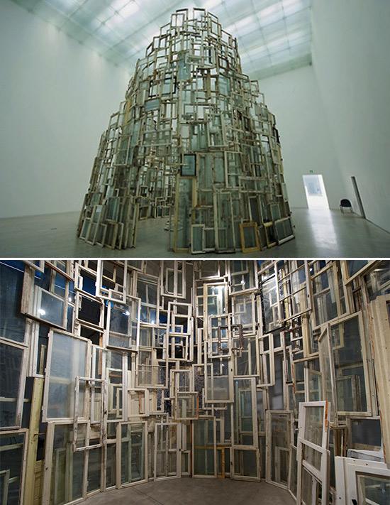 "Art installation, ""A Room of Memory,"" by artist Chiharu Shiota"