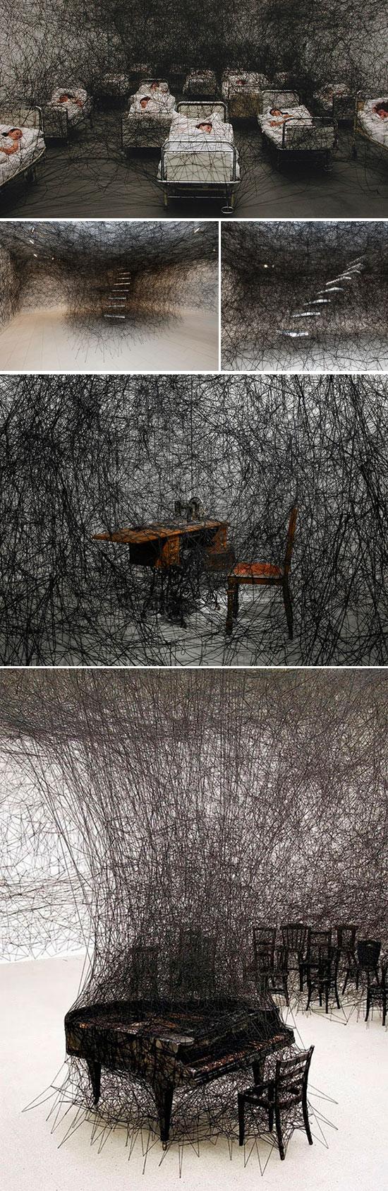 Thread installations by artist Chiharu Shiota