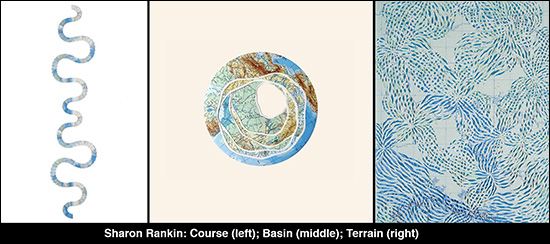 Three map collages by Sharon Rankin