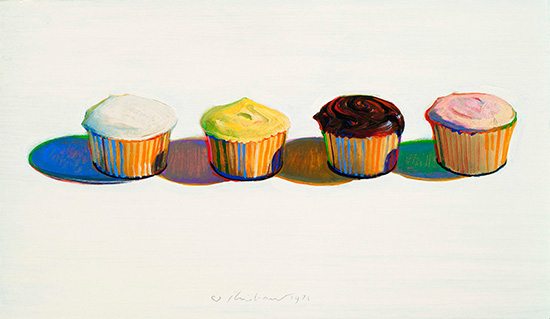 Wayne Thiebaud oil painting of cupcakes