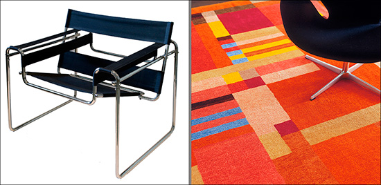 Chair by Marcel Breuer and rug by Gunta Stoizl
