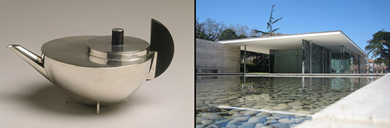 Tea pot by Marianne Brandt, building by Mies van der Rohe