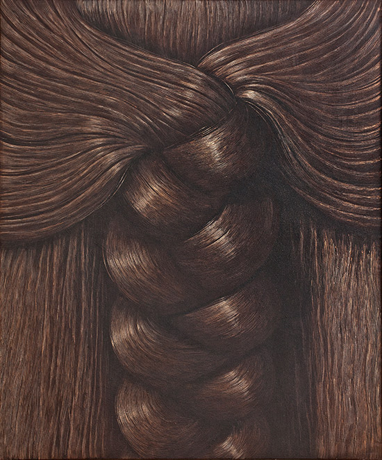 Painting of braided hair by Domencio Gnoli