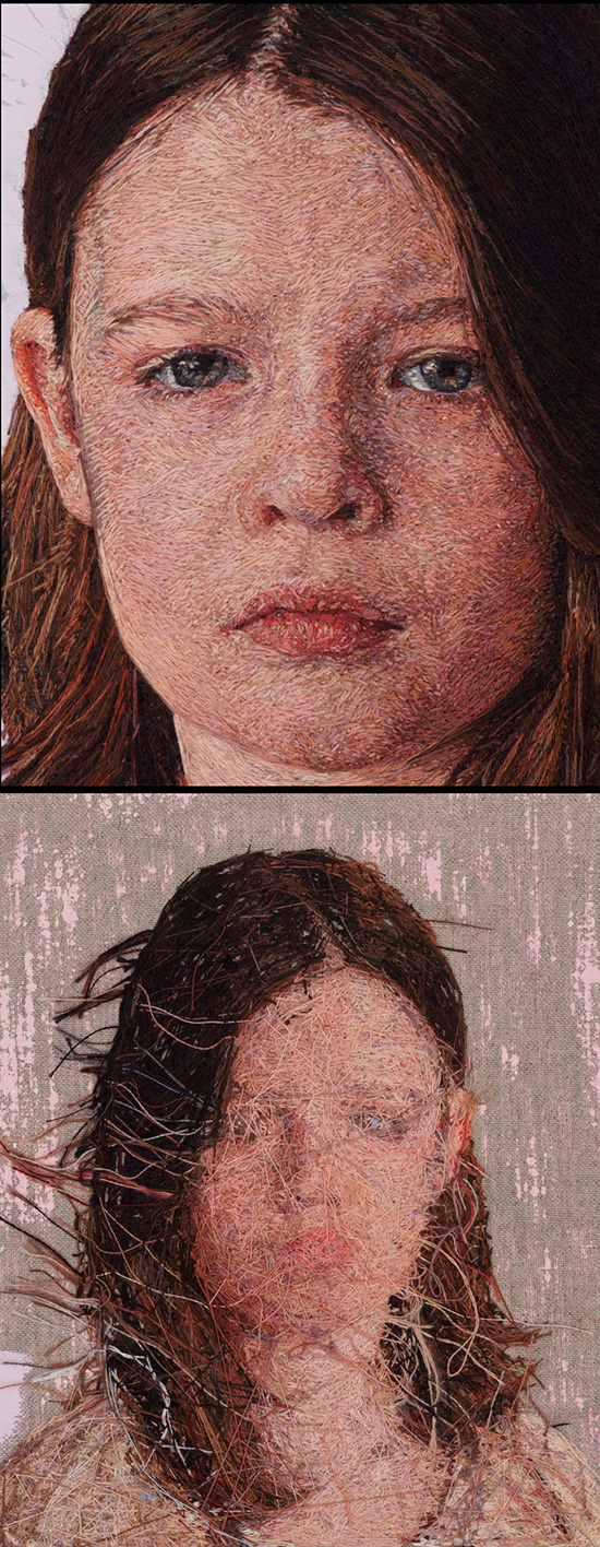 Photorealistic embroideries by artist Cayce Zavaglia