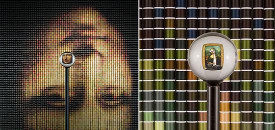 Image of Mona Lisa made from spools of thread by artist Deborah Sperber