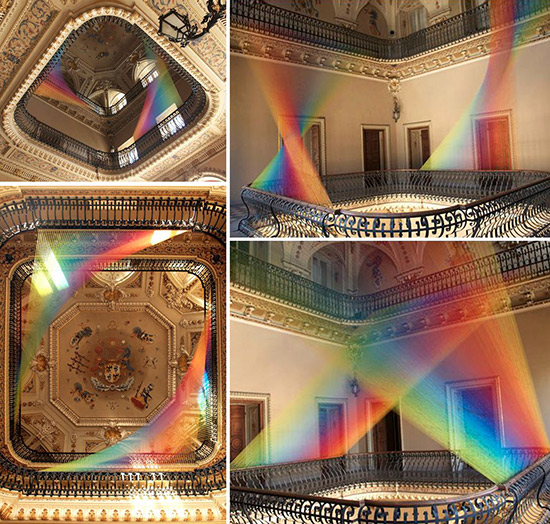 Art installations made from thread by Gabriel Dawe