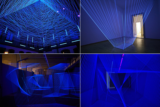 Installations with thread and UV light by Jeongmoon Choi