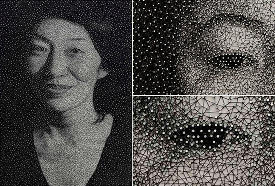 Portraits by Kumi Yamashita made with thread and wire brads