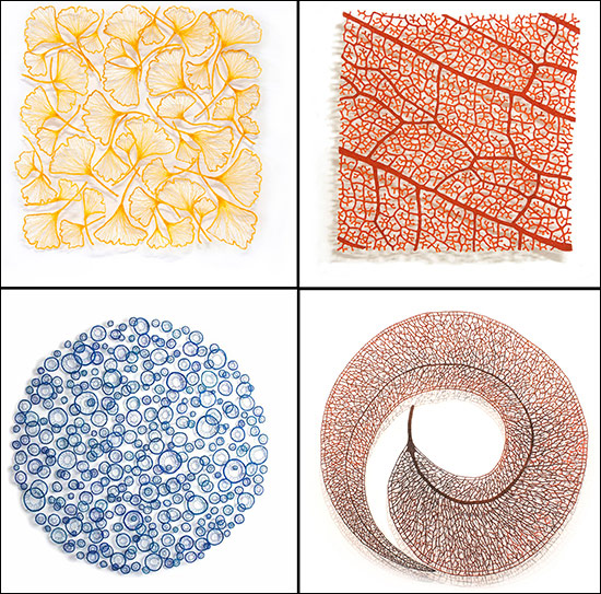 Machine embroideries by artist Meredith Woolnough