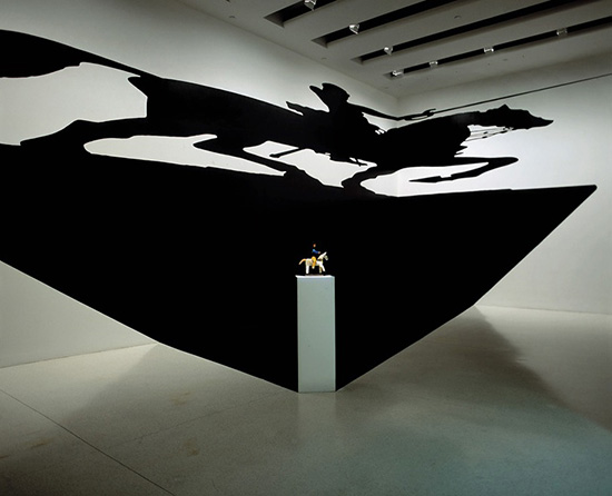 Art installation by Regina Silveira with image of projected shadow