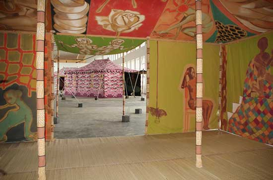 Installation of handprinted tents by Francesco Clemente