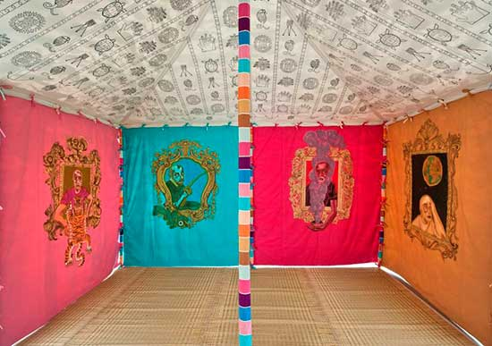 Interior view of a handprinted tent by artist Francesco Clemente
