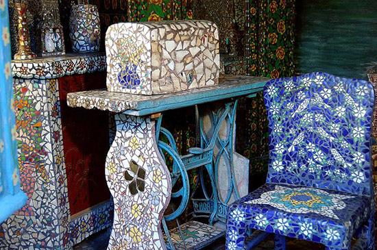 Raymond Isidore's mosaic covered sewing machine