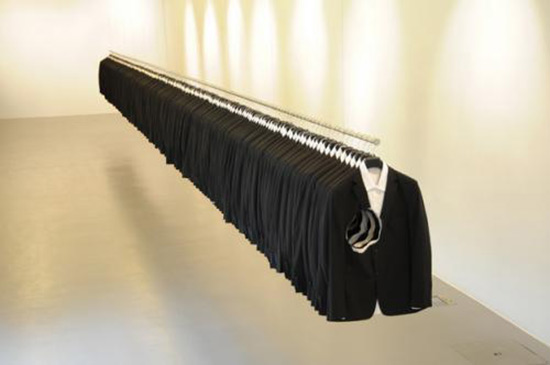Charles LeDray installation art with men's jackets