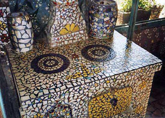 Raymond Isidore's mosaic covered stove