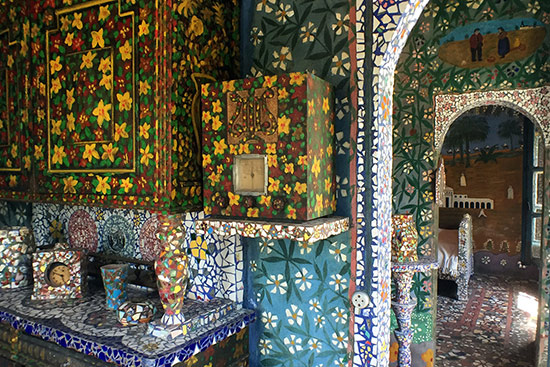 Interior view of Raymond Isidore's mosaic covered home